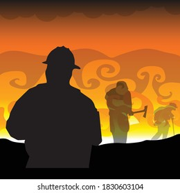 silhouettes of Firefighters Battling Wildfires