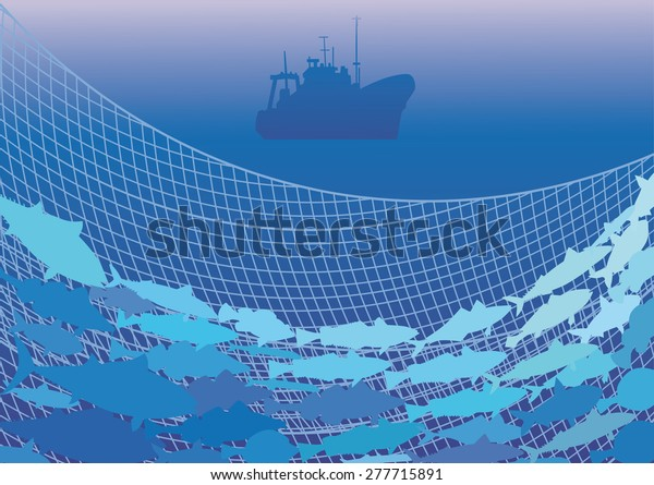 Silhouettes of the fishing trawler, commercial fish and net on the background of the sea.