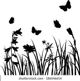 Silhouettes  of flowers and butterflies, vector illustration