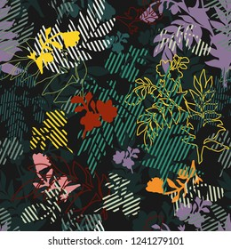 Silhouettes of flowers, filled with stripes, leaves on a black background. Seamless vector pattern with flowers and leaves for design fabrics and all prints.