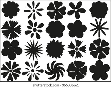 Silhouettes of flowers on a white background in vector