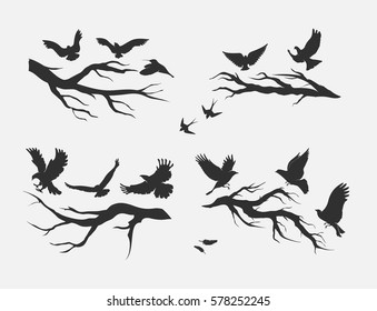 silhouettes of flying birds, mounted on branches