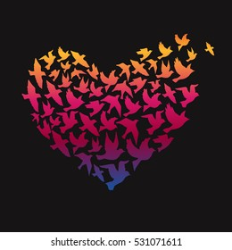 Silhouettes of flying birds, vector illustration. Heart