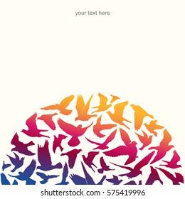 Silhouettes of flying birds, vector illustration.
