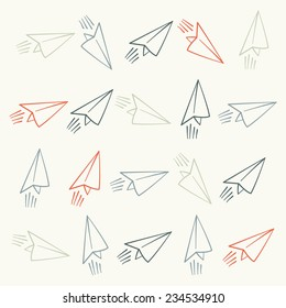 Silhouettes of flying paper airplanes seamless pattern
