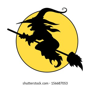 silhouettes of flying witch on broom - Halloween vector illustration