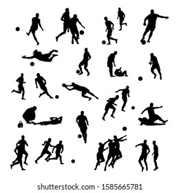 Silhouettes of football players, goalkeeper kicking ball and running . Black and white vector illustration of soccer icons