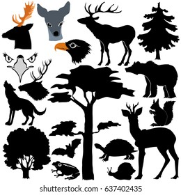 silhouettes of forest animals and plants