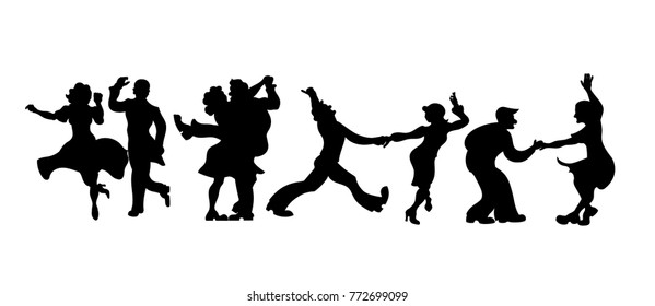 Silhouettes four couple of  people dancing Charleston or retro dance. Vector Illustration.set of retro silhouette dancer isolated on white. Dance couple silhouette