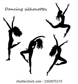 Silhouettes of  four dancing women. vector illustration on white background