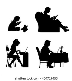 Silhouettes of four different ages female characters working on the computer