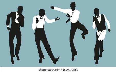 Silhouettes of four elegant man wearing vintage style clothes dancing retro dance