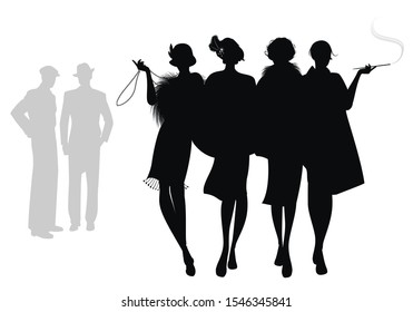 Silhouettes of four flapper girls walking together and two men in the background. Isolated on white background
