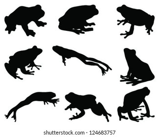 Silhouettes frog-vector