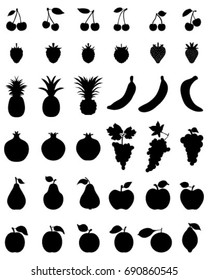 Silhouettes of fruit,vector icon set for web and mobile