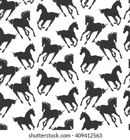silhouettes of galloping horse - black and white seamless pattern