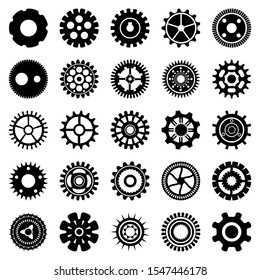 Silhouettes of gearwheels and screw-wheels. Abstract collection of metal round details for rotate and motion. Vector set of gears and cogs.