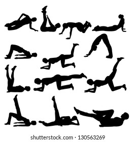 silhouettes of girl  exercise
