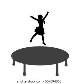 silhouettes of girl jumping on trampoline