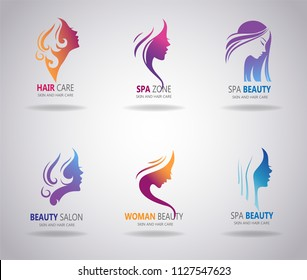 Silhouettes of a girl in profile with long hair is a realy great choice for logo, poster, t-shirt, label, sticker and any design for beauty or spa salon.