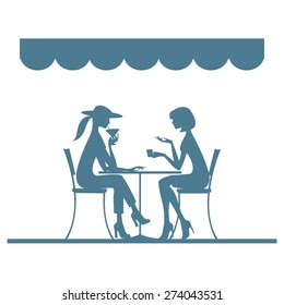 Silhouettes. Girls in cafe sitting at the table. Vector illustration.