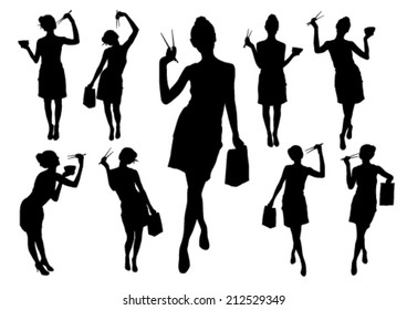 Silhouettes of girls with chopstick