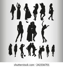 ?any silhouettes of girls in different images. Set. Vector graphics.