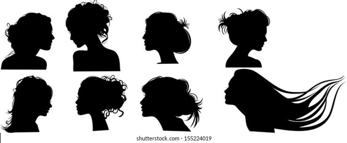 Silhouettes of girls with hairstyles, vector