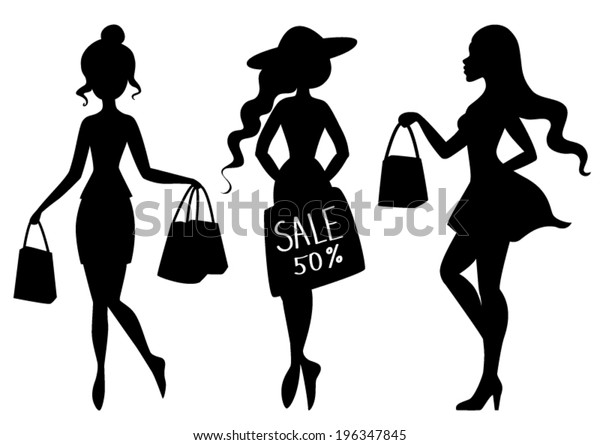 4a69aafe677 Silhouettes Girls Women Shopping Bags Stock Vector (Royalty Free ...