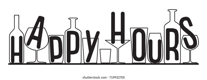 Silhouettes of glasses and bottles happy hours time. Vector black and white composition.
