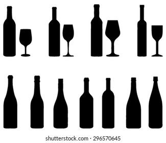 Silhouettes of glasses and bottles, vector