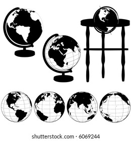 Silhouettes of Globes on Stands, and a set of various globe views: Eastern Hemisphere; Asia; Atlantic; Pacific.