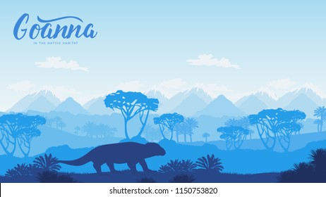 Silhouettes goanna hunt for prey in the desert illustration. Silhouette of a wild animal in Australia background. Landscape of mountains in the wild design