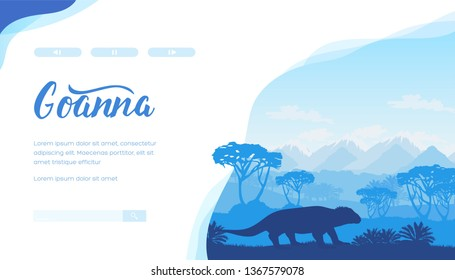 Silhouettes of goanna, trees, mountains. Australian landscape with lizard, plants in blue colour. Horizontal vector design, template for zoology, ecology, travel project. Place for text, copy space.