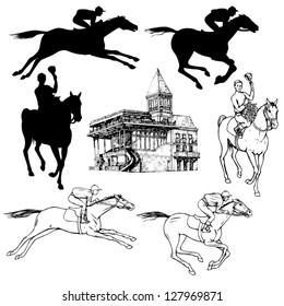 Silhouettes and graphic sketches of horses and jockeys, vintage style, graphic drawing hippodrome for design