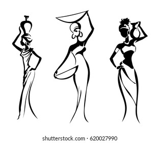Silhouettes of the Greek and African women, isolated on white background. Women with pitchers and plates on their heads. Vector illustration.