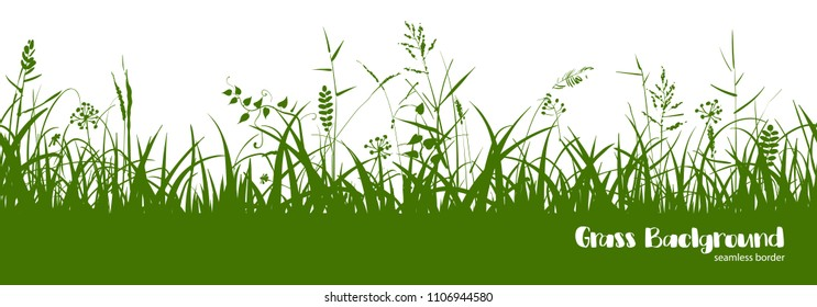 Silhouettes of green grass, spikes and herbs isolated on white background. Seamless border. Hand drawn sketch style vector illustration.
