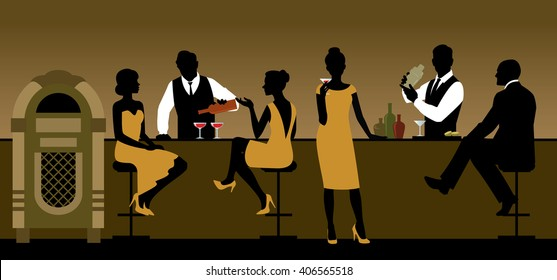 Silhouettes of a group of people drinking in a bar Stock vector illustration