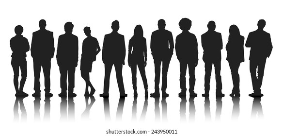 Silhouettes Group of People in a Row
