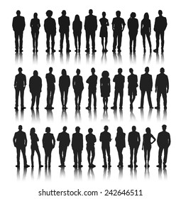 Silhouettes Group of People in a Row Vector