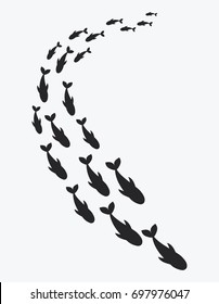 Silhouettes of groups of sea fishes. Colony of small fish. Icon with river.