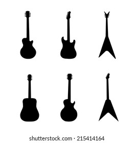 Silhouettes of guitar-vector