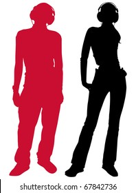 Silhouettes of the guy and the girl in headphones