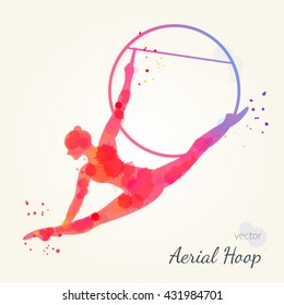 Silhouettes of a gymnast in the aerial hoop. Vector watercolor illustration on a paper background. Air gymnastics concept