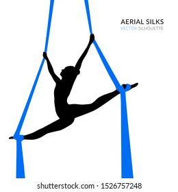 Silhouettes of a gymnast in the aerial silks. Vector illustration on white background. Air gymnastics concept