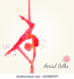Silhouettes of a gymnast in the aerial silks. Vector watercolor illustration on a paper background. Air gymnastics concept