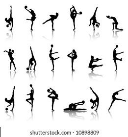 Silhouettes of gymnast girls