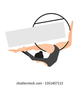 Silhouettes of gymnast in the hoop. Air gymnastics concept. Aerial yoga, woman doing some acrobatic elements flying ring. Vector illustration flat style. Copy space for your logo for fit lyra studio.