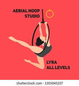 Silhouettes of a gymnast in the hoop (LYRA). Air gymnastics concept. Aerial yoga, woman doing some acrobatic elements flying ring. Flat retro vintage style. The logo for fit studio.