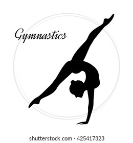 Silhouettes of a gymnastic girl. Vector illustration on white background